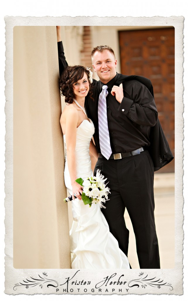 beautiful wedding couple portrait at Northwestern College