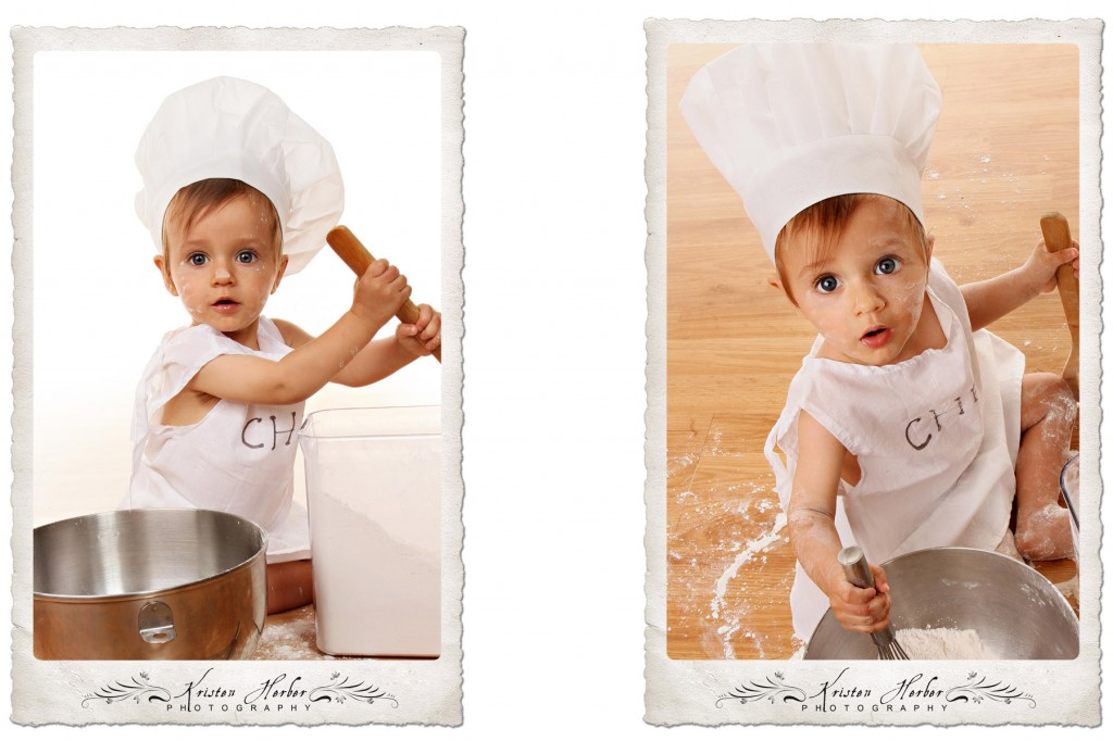 1 year old boy portraits chef cook