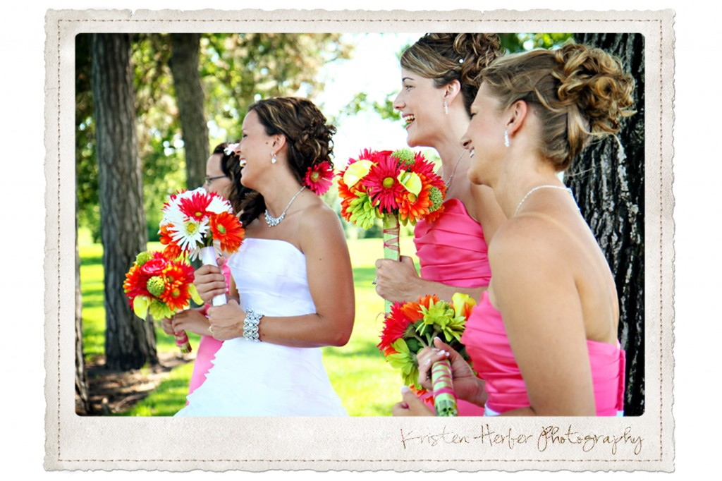 bride with bridesmaids laughing