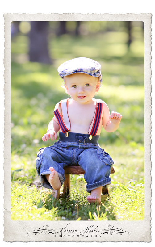one year old boy photography wearing cap and suspenders minnehaha falls