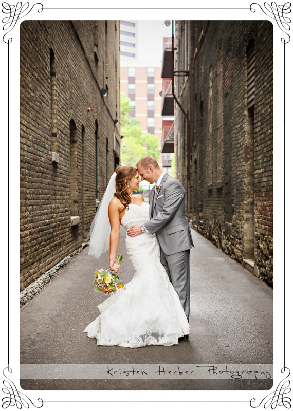 beautiful wedding couple in lowertown allies st paul mn