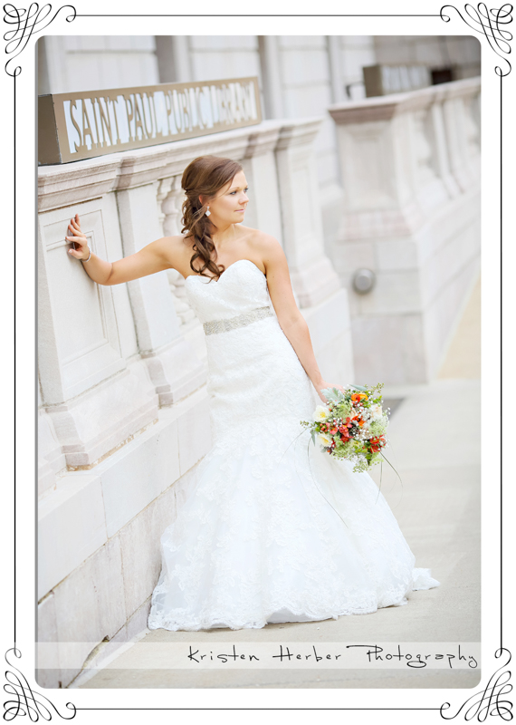 beautiful bride outside st paul public library mn