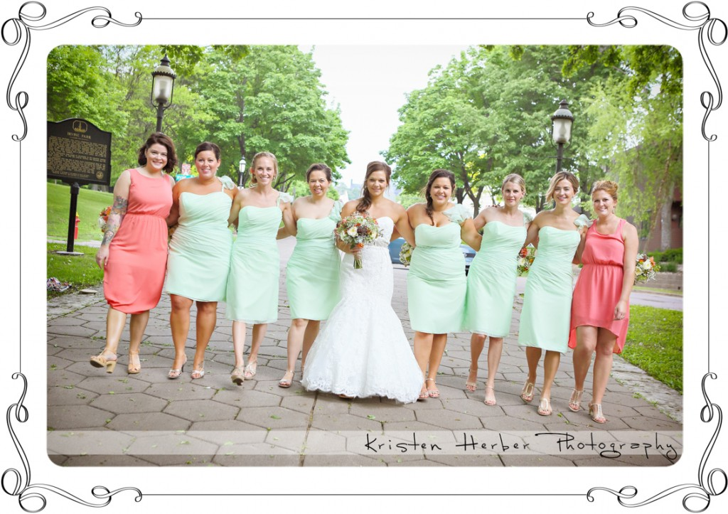 bridal party wedding at Irvine Park St Paul MN