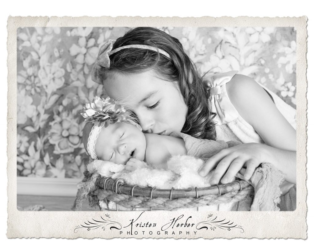Newborn sister studio photography